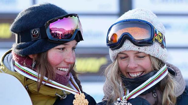Canada's Spencer O'Brien and Australia's Torah Bright with their medals after the women's Snowboard Slopestyle Finals at ...