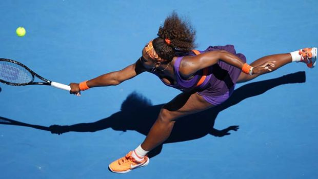 Fast track … tournament favourite Serena Williams out-muscled Japan's Ayumi Morita 6-1, 6-3 in just 66 minutes.