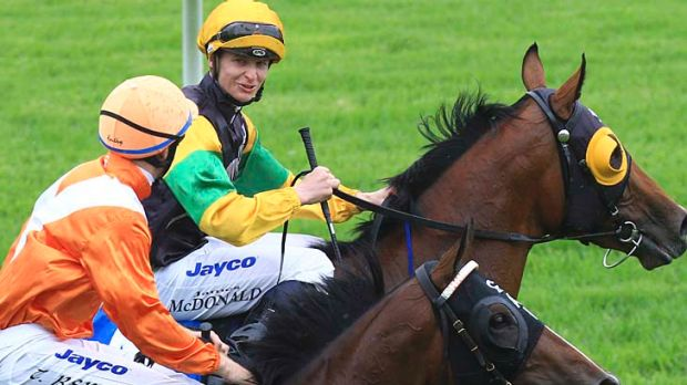 Marseille Roulette ridden by Tommy Berry with Fuezra (James McDonald up) after the Inglis Classic.