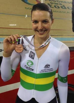 Canberra cyclist Rebecca Wiasak with her bronze medal from the individual pursuit race at a World Cup meet in Mexico
