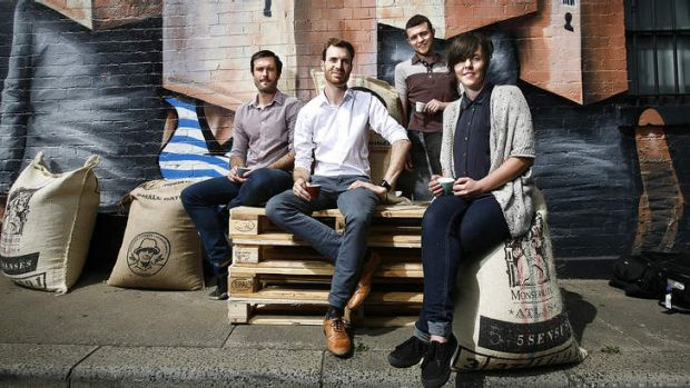 On the coffee trail (from left): Andrew Kelly of Small Batch, Ben Bicknell of Five Senses, Matt Perger of St Ali and ...