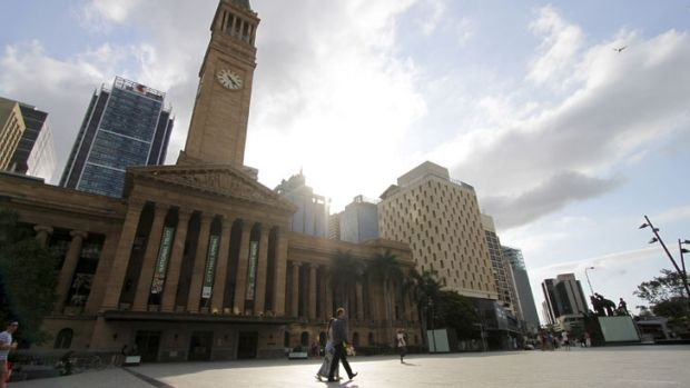 Too hot for most - King George Square, Brisbane City was deserted today as temperatures hit 35 degrees in the city.