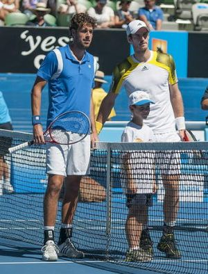 Canberra's Lachlan Hewatt meets Andy Murray and Robin Haase.