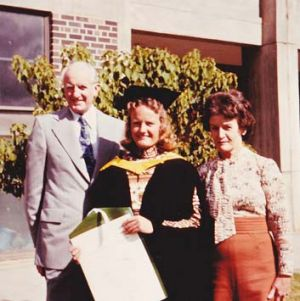 Jennifer Herrick at 22, a couple of months after the first assault, with her parents.