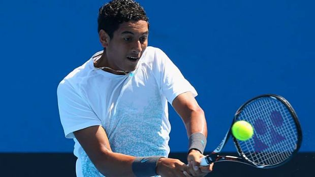 In form: Nick Kyrgios is aiming for the boys' title at Melbourne Park.