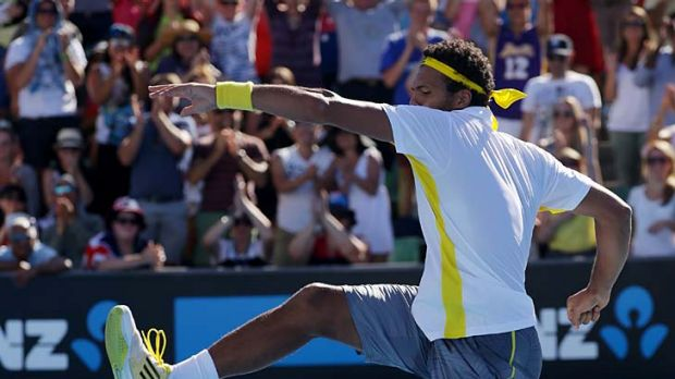On the march: Jo-Wilfried Tsonga is one of four Frenchmen to make the round of 16 at the Australian Open.