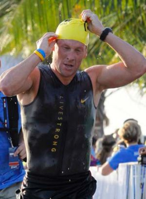 Lance Armstrong participates in the Ironman Panama 70.3 triathlon in Panama City in February last year.