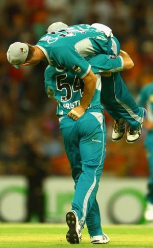 Heatwave … Dan Christian and Chris Lynn celebrate.