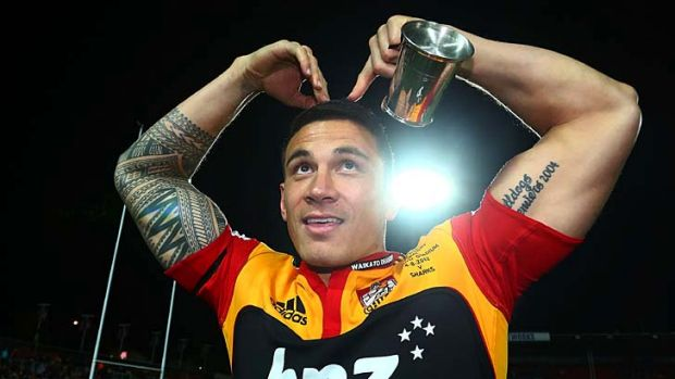 Favourite Sonny … Chiefs star Sonny Bill Williams after the Waikato franchise won the Super Rugby title last year ...