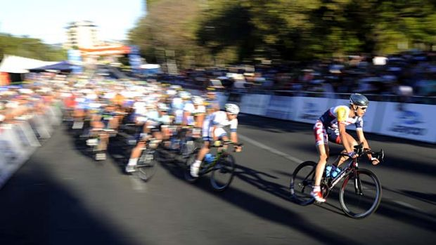 Rush hour ... riders contest the People's Choice Classic in Adelaide on Sunday.
