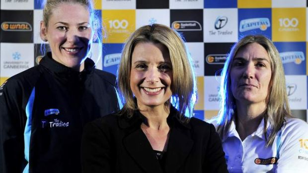 Kristina Keneally with Lauren Jackson and Carrie Graf in 2012.