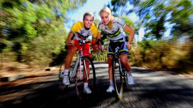 Canberra cyclists Kimberley Wells and Gracie Elvin.