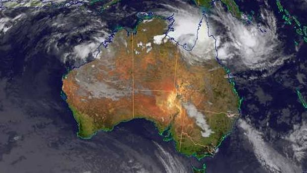 Satellite image of Cyclone Oswald is the Gulf of Carpentaria.