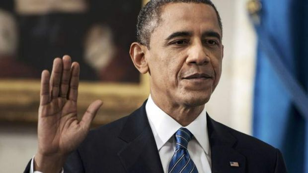 U.S. President Barack Obama is sworn in for a second term as President of the United States in the Blue Room of the ...