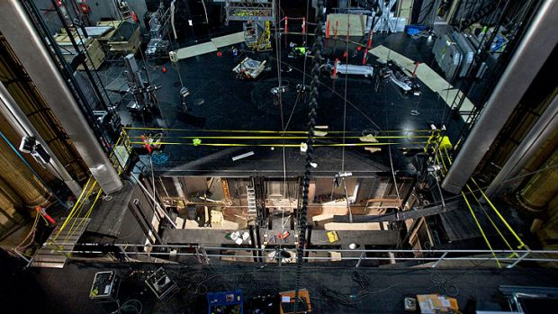 Construction runs around the clock at the Regent Theatre in preparation for <i>King Kong</i>.