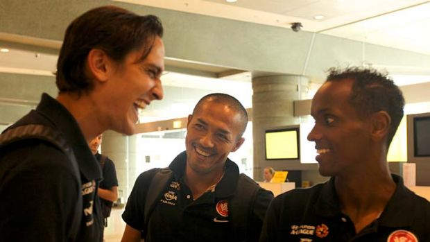 Good times ahead ... three of Western Sydney's imports - Jerome Polenz, Shinji Ono and Youssouf Hersi - laugh at Sydney ...
