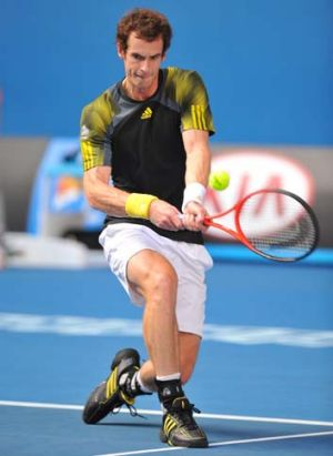 Andy Murray ... stormed into the quarter-finals with a dominant display against Gilles Simon.