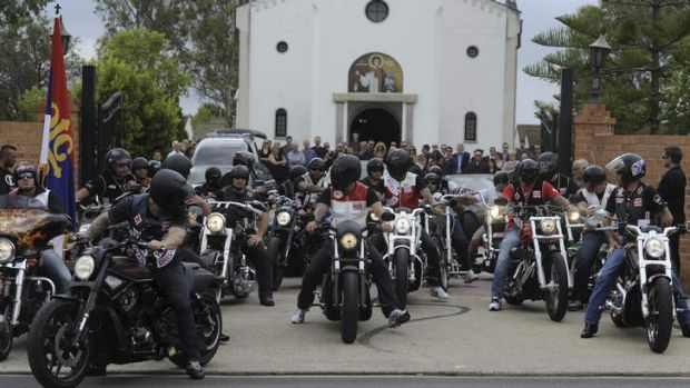 "Farewelled ...  the funeral of senior Hells Angels member Zeljko ""Steve"" Mitrovic on Monday."