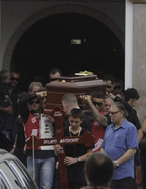 "Mourners carry the coffin of Zeljko ""Steven"" Mitrovic at St Stephans Serbian Orthodox Church in Rooty Hill."