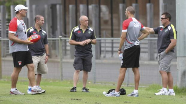 The Raiders and Swans coaches discuss tactics.