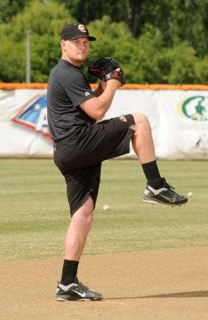 Canberra Cavalry pitcher Steve Kent, whose father Greg Kent has been accused of favouring the Cavalry when umpiring.
