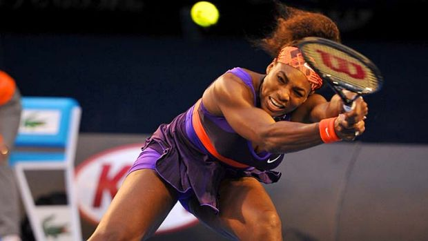 Mauling: Serena Williams dealt with Russian Maria Kirilenko in straight sets  6-2, 6-0 in their centre-court match on ...