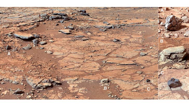 The spot selected for Curiosity's first drilling site.