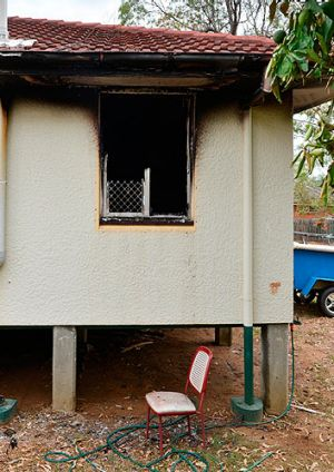 Signs of the blaze can be seen outside the house.