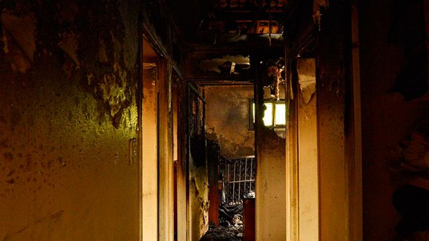 A fire extensively damaged an Ipswish home on Monday.