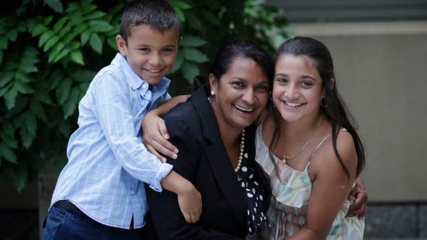 Nova Peris with her children Jack (left) and Destiny (right), at Parliament House in Canberra on Tuesday.