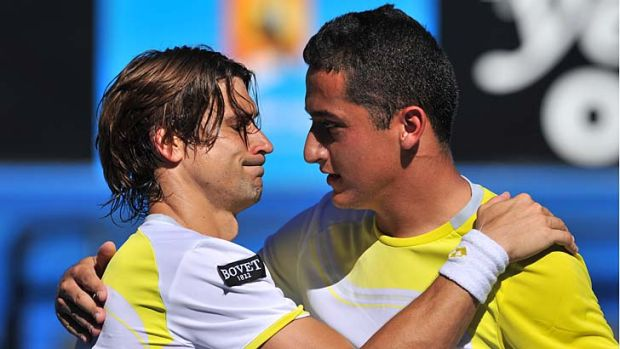 Nicolas Almagro served for the match three times but David Ferrer clawed his way back.