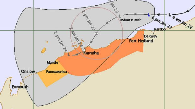 Pilbara ports have gone into lockdown as a cyclone approaches from the north-west.