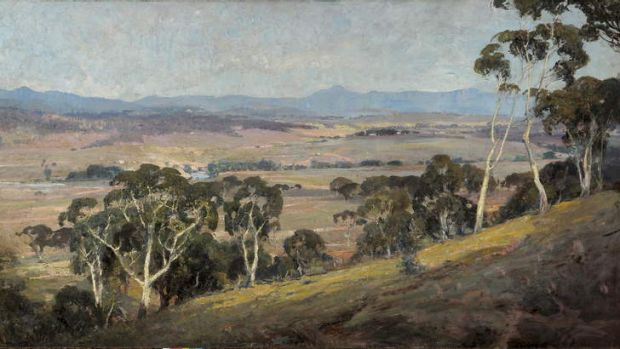 Hidden gem ... H. Septimus Power's 1913 painting of the federal capital site at Canberra.