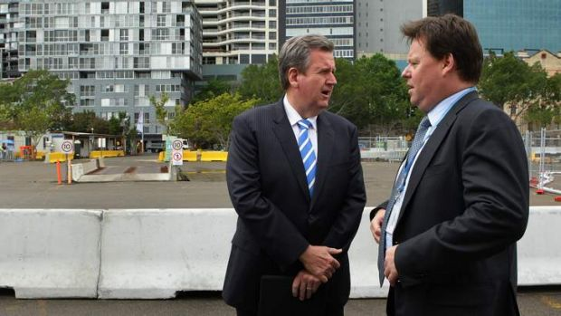 NSW Premier Barry O'Farrell, left, with Lend Lease Group CEO Steve McCann at Barangaroo South marking the start of major ...