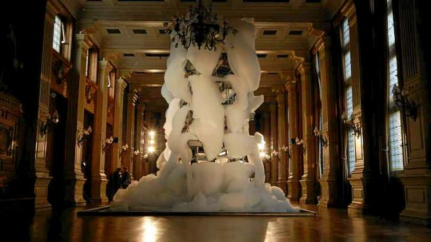 Michel Blazy's installation of white foam, Bouquet Final, is part of the visual arts selection. Photo: Eva Clouard