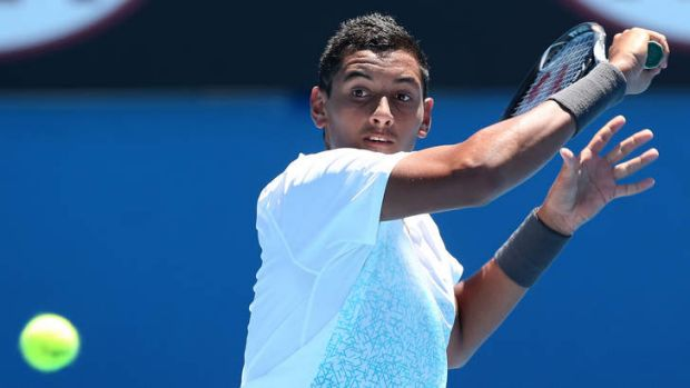 Canberra's Nick Kyrgios in action at the Australian Open on Tuesday.