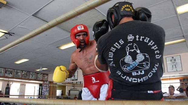 Pumped up … Mundine sparring at his father's Redfern gym ahead of next week's world title bout with Daniel Geale.