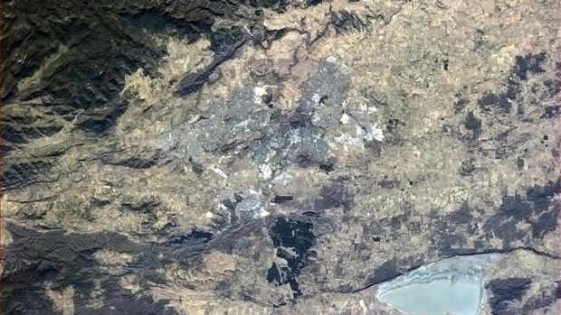 Astronaut Chris Hadfield tweeted this photo of Canberra as seen from the International Space Station.