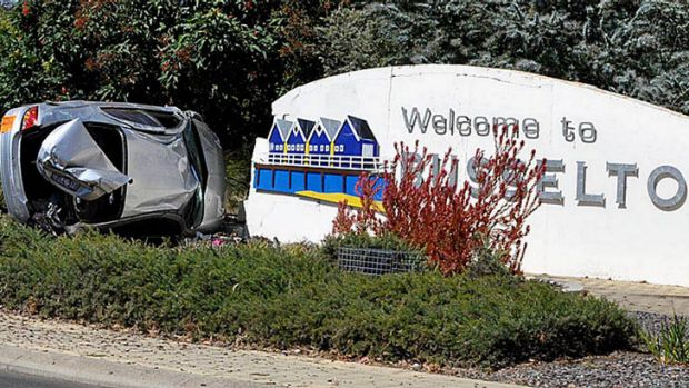 Not a welcome entry to Busselton - a teenager crashed into a sign.