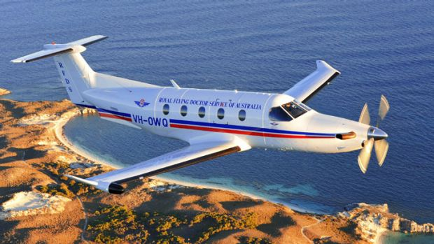 A Royal Flying Doctor Service aircraft flying over Rottnest Island.