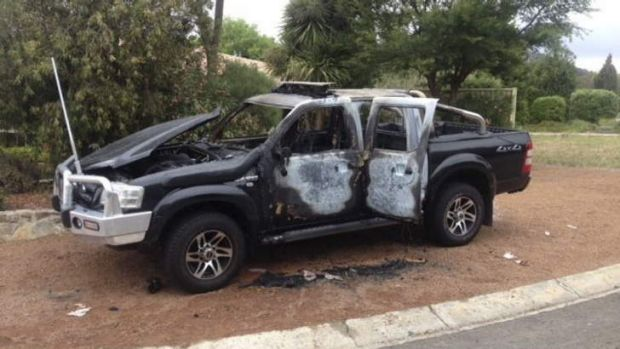 DESTROYED: Steve Gill's Ford Ranger had been expensively modified for security work.