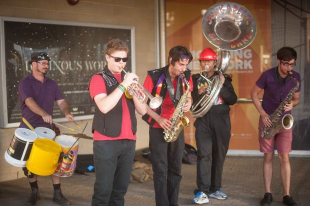 The Junkadelic Big Band performing outside the venue.