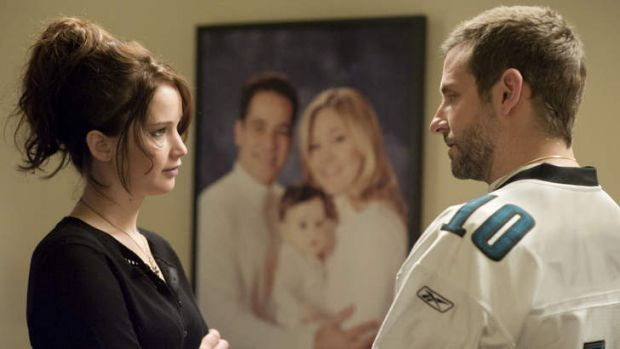 Awards favourite ... Jennifer Lawrence and Bradley Cooper in Silver Linings Playbook.