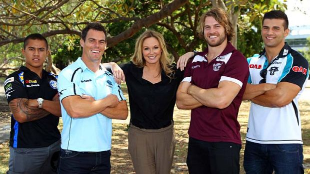 Giving trolls the punt ... Charlotte Dawson with, from left, Parramatta's Kaysa Pritchard, Cronulla's John Morris, ...