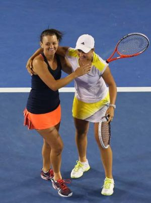 Such a buzz: Casey Dellacqua and Ashleigh Barty.
