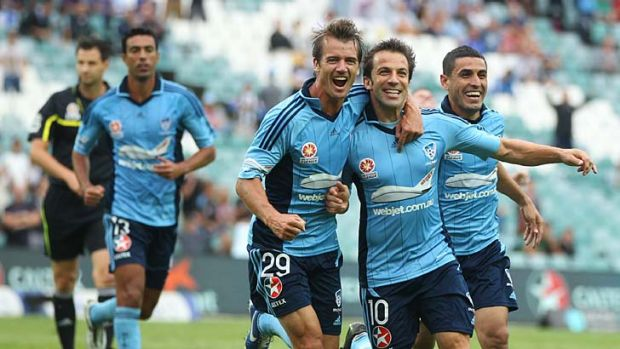Smiles return ... Alessandro Del Piero, centre, after one of his goals against Wellington Phoenix.