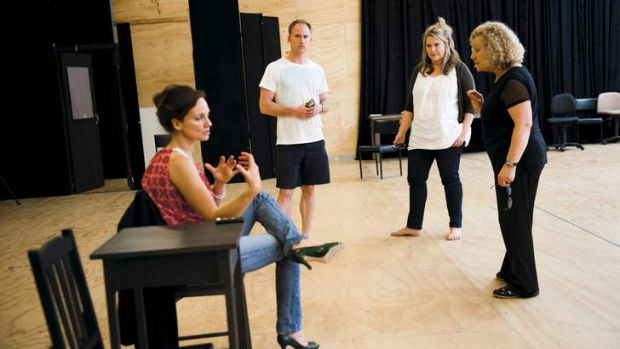 Catherine McClements (right) and cast rehearse <i>The Other Place</i> with director Nadia Tass (left).