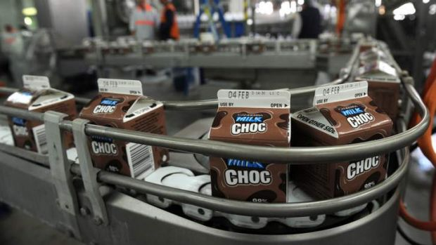 """Canberra Milk's new flavour  """"Milk Choc"""" on the production line in the Fyshwick factory."""