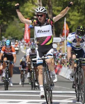 Sweet success: Tom-Jelte Slagter celebrates.
