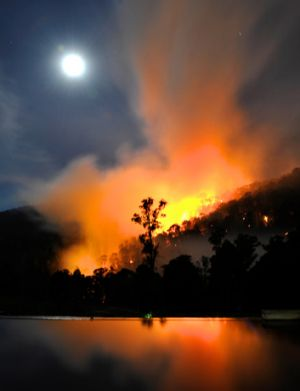 Fire roars through the Alpine National Park.